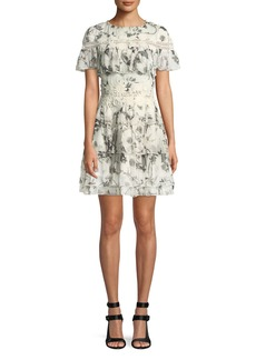 Alice + Olivia Paola Embroidered Ruffle Mini Dress