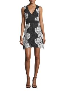 Alice + Olivia Patrice Deep V-Neck A-Line Short Dress
