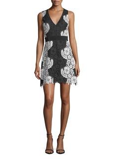 Alice + Olivia Patrice Deep V-Neck A-Line Short Dress