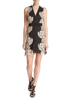 Alice + Olivia Patrice Two-Tone Lace Cocktail Dress