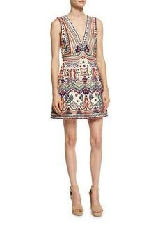 Alice + Olivia Patty Embellished Seamed A-Line Dress
