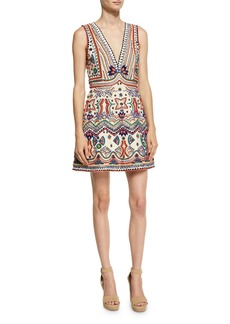 Alice + Olivia Patty Embellished Seamed A-Line Dress