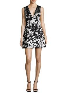 Alice + Olivia Patty Floral-Print Satin Lantern Dress