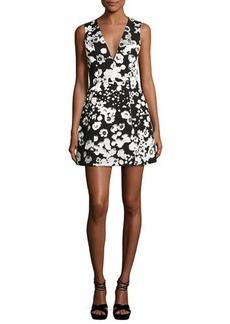 Alice + Olivia Patty Metallic Floral Lantern Dress