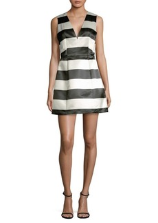 Alice + Olivia Patty Striped Satin Dress