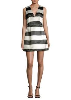Alice + Olivia Patty Striped Satin Dress