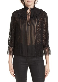 Alice + Olivia Pauletta Pleated Floral Lace Blouse