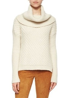 Alice + Olivia Paxton Mixed-Chunky-Knit Cowl Sweater