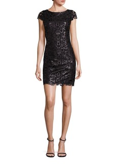 Alice + Olivia Penni Faux Leather Lace Dress