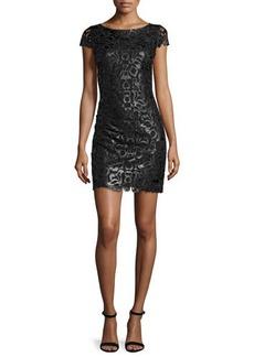 Alice + Olivia Penni Faux-Leather Lace Dress