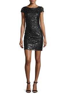 Alice + Olivia Penni Faux-Leather Lace Dress