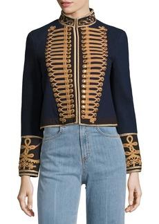 Alice + Olivia Phoenix Embroidered Military Wool Jacket