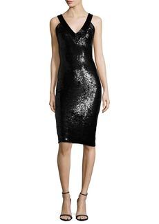 Alice + Olivia Piera Embellished V-Neck Sheath Dress