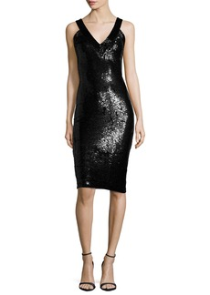 Alice + Olivia Piera Embellished V-Neck Sheath Dress
