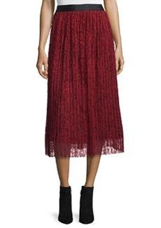 Alice + Olivia Pleated Lace Midi Skirt