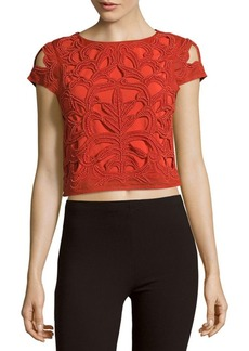 Alice + Olivia Pollie Embroidered Cropped Top