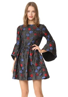 alice + olivia Posie Trumpet Sleeve Party Dress