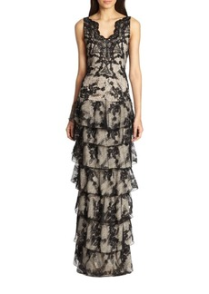 Alice + Olivia Powell Drop-Waist Lace Gown