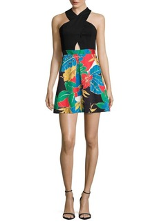 Alice + Olivia Printed-Skirt Halterneck Dress