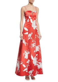Alice + Olivia Rai Bustier Floral-Print Evening Gown