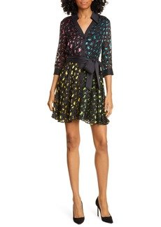 Alice + Olivia Raja Leopard Print Burnout Belted Minidress