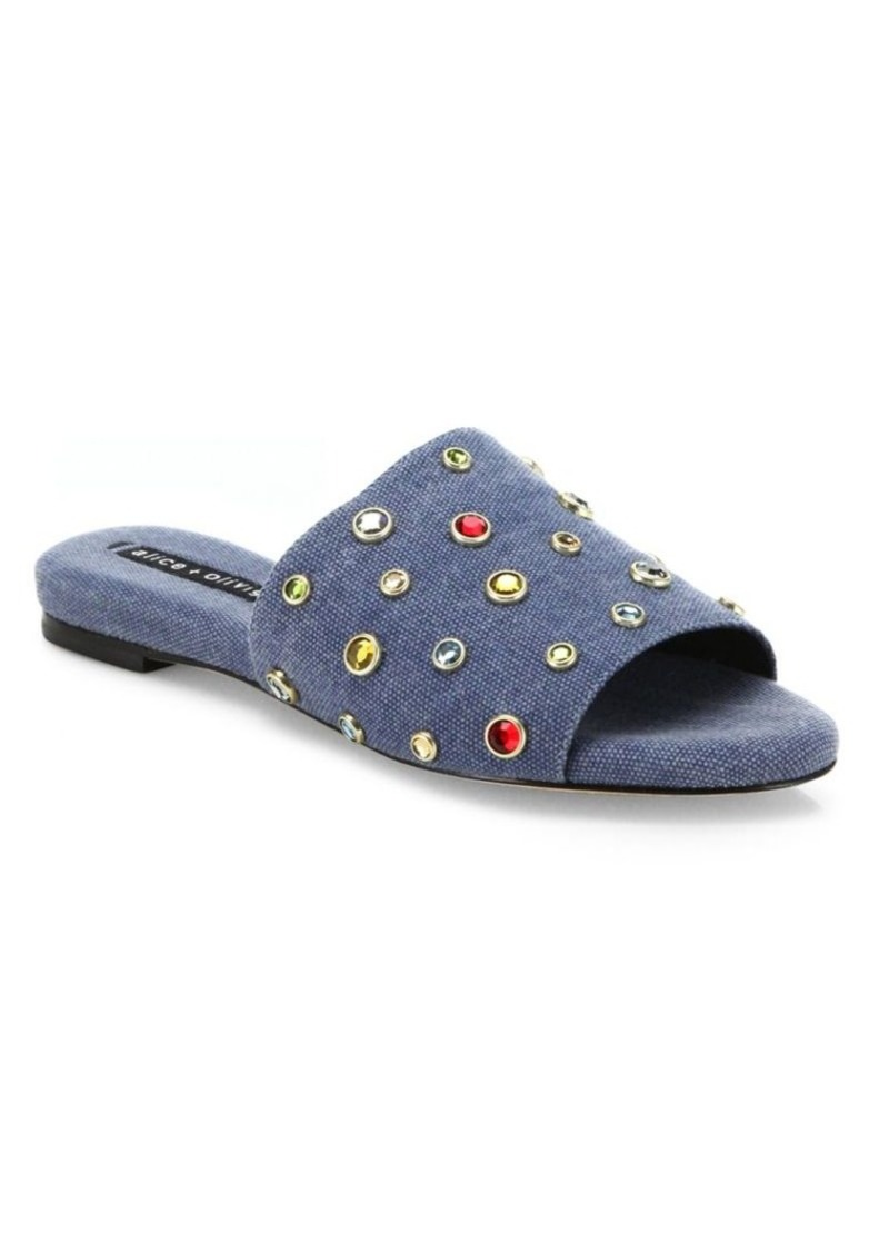 Alice + Olivia Ramona Crystal-Studded Denim Slides