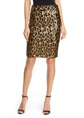 Alice + Olivia Ramos Leopard Sequin Pencil Skirt