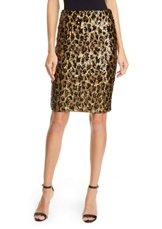 Alice + Olivia Ramos Leopard Sequin Pencil Skirt