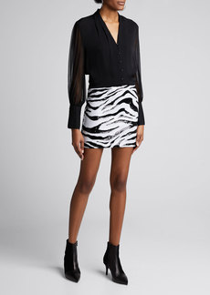 Alice + Olivia Ramos Zebra Sequin Fitted Mini Skirt