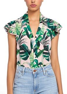 Alice + Olivia Randa Palm Print Ruffle Sleeve Silk Blouse