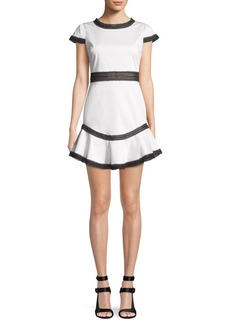 Alice + Olivia Rapunzel Curved-Hem Lace Trim Mini Dress