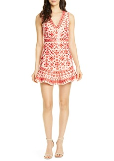 Alice + Olivia Rapunzel Embellished Ruffle Hem Dress