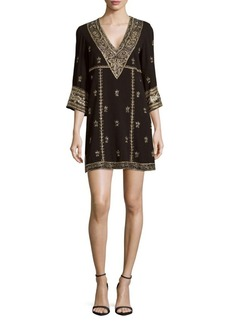 Alice + Olivia Ray Embroidered Shift Dress