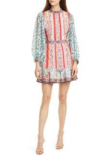 Alice + Olivia Raya Mandarin Collar Cotton Long Sleeve Dress