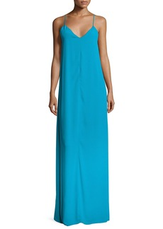 Alice + Olivia Reagan Side-Slit V-Neck Slip Dress
