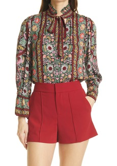 Alice + Olivia Reilly Floral Ruffle Tie Neck Top