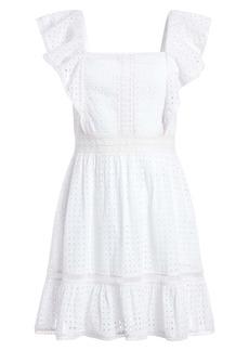 Alice + Olivia Remada Flutter Sleeve Eyelet Fit & Flare Dress
