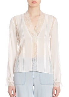 Alice + Olivia Renesmee V-Neck Lace Top