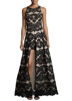 Alice + Olivia Richie Sleeveless Lace Romper Gown