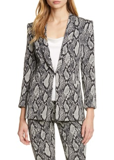 Alice + Olivia Richie Snake Print Cotton Blend Jacket