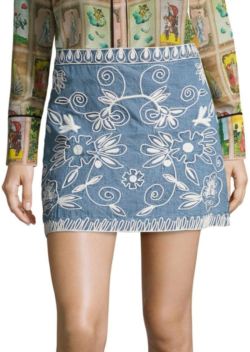 Alice + Olivia Riley Embroidered Chambray Mini Skirt