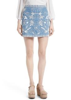 Alice + Olivia Riley Embroidered Chambray Miniskirt