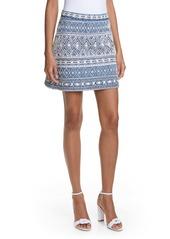 Alice + Olivia Riley Embroidery Detail Cotton Miniskirt