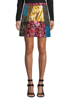 Alice + Olivia Riley Patchwork A-Line Short Skirt