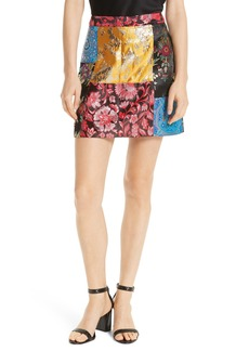 Alice + Olivia Riley Patchwork Miniskirt