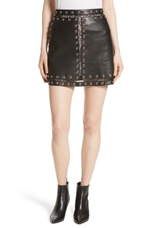 Alice + Olivia Riley Studded Leather Mini Skirt
