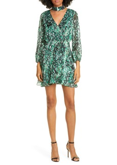 Alice + Olivia Rita Long Sleeve Snake Print Minidress
