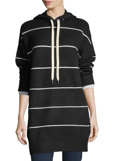 Alice + Olivia Riva Long-Sleeve Hooded Striped Tunic