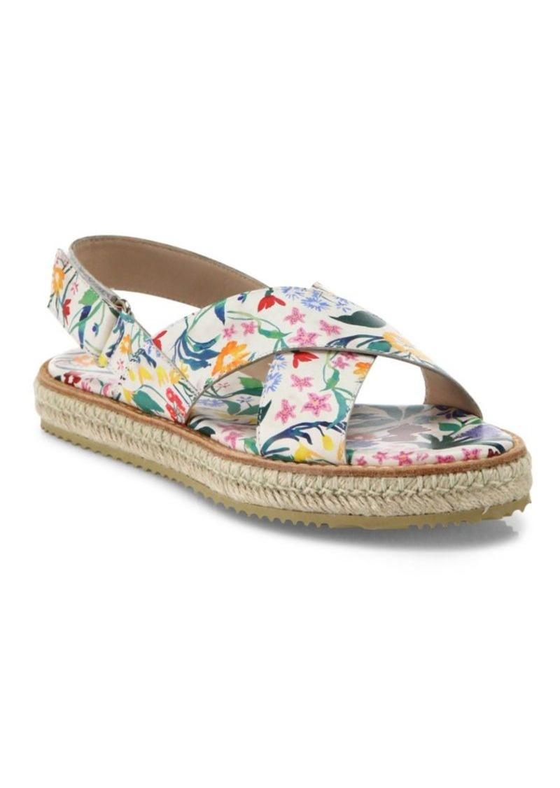 Alice + Olivia River Floral Nappa Leather Slingback Espadrille Sandals