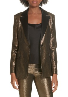 Alice + Olivia Robert Notch Collar Metallic Blazer